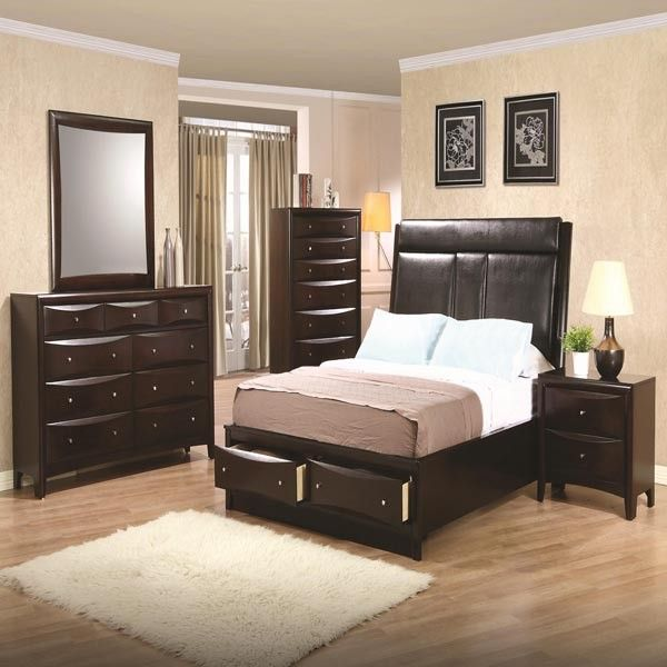 Phoenix Storage Bedroom Set From Coaster 200409: Phoenix 4 Piece Queen Upholstered