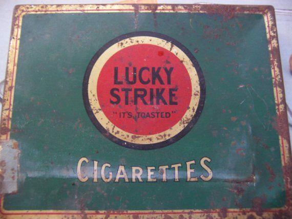 lucky strike flat cigarette tin box