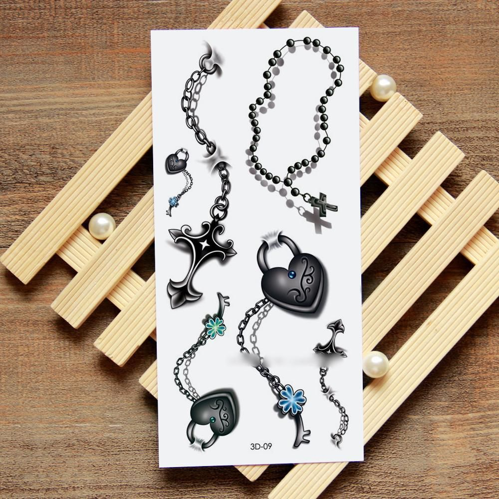 Christian cross and heart padlock chains kittytats