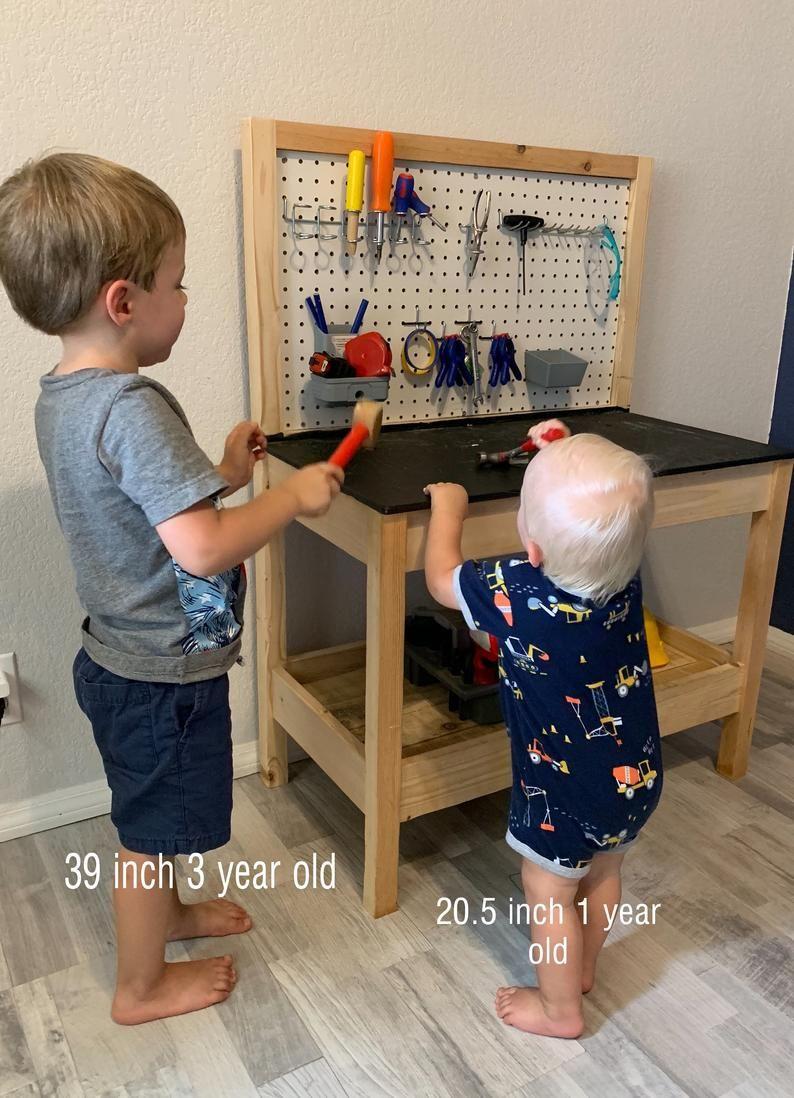 Kid S Wooden Tool Bench Etsy In 2020 Kids Workbench Kids Tool Bench Toddler Tool Bench