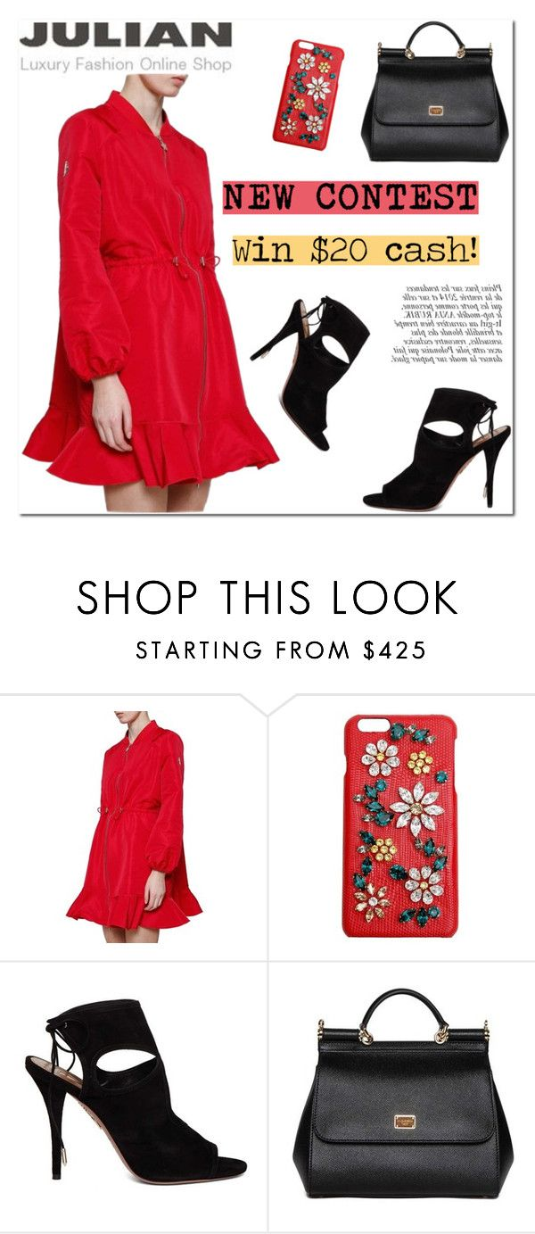 JULIAN FASHION: New Contest with prize($20 cash) by helenevlacho on Polyvore featuring Moncler Gamme Rouge, Aquazzura, Dolce&Gabbana, Anja, contest and #julianfashion