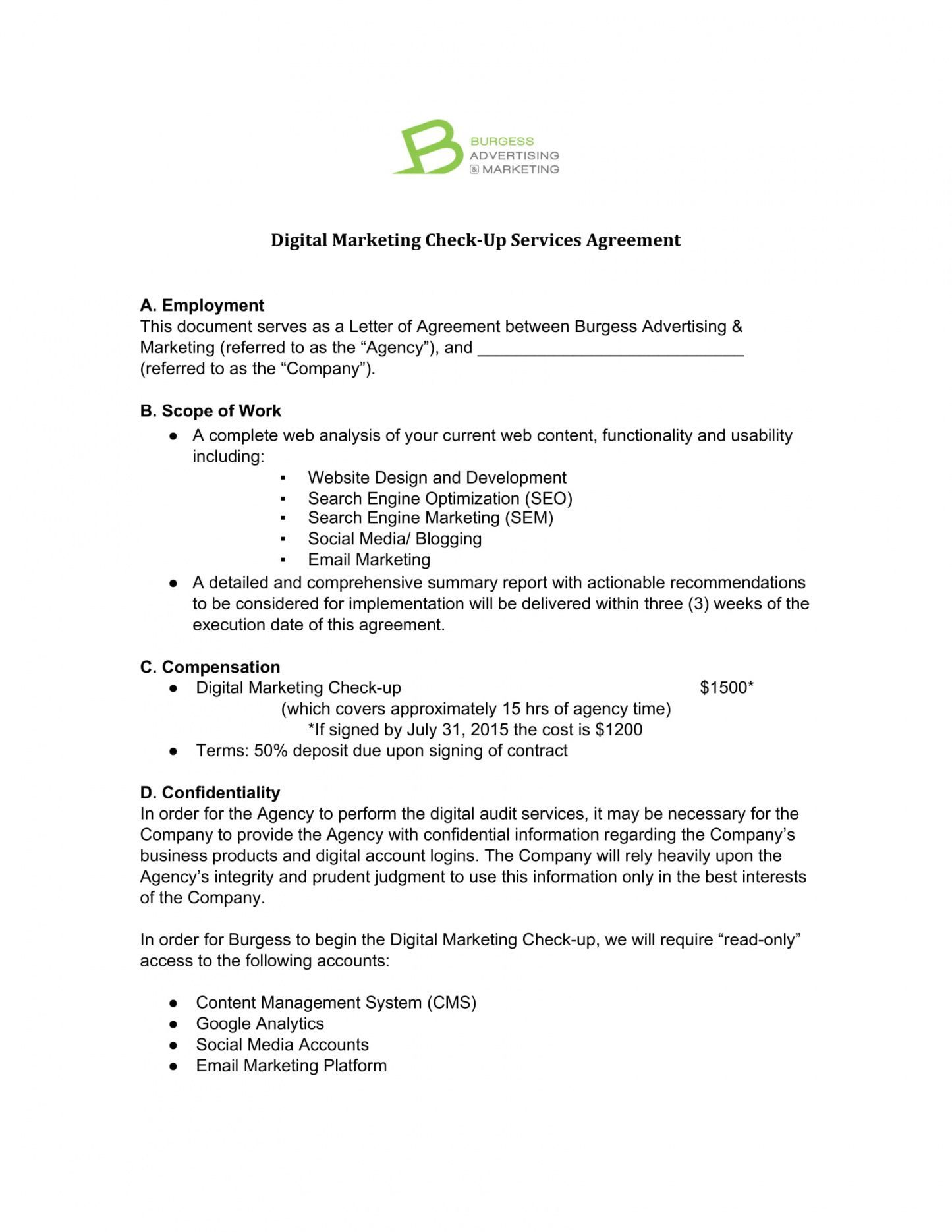 Get Our Example of Marketing Agency Agreement Template for