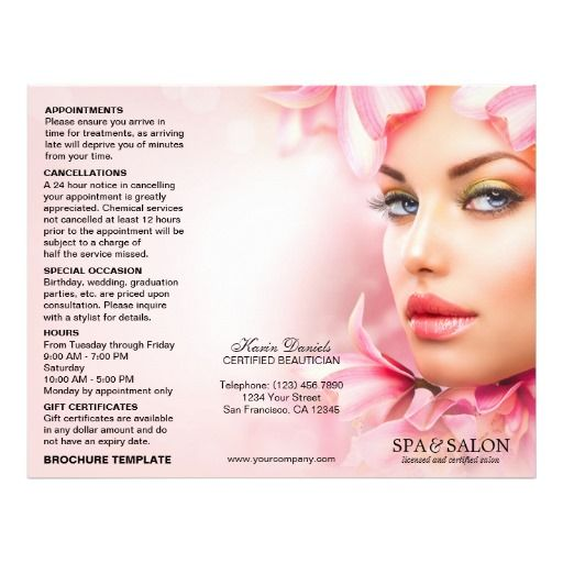 Professional Tri Fold Spa And Salon Brochure Template  X