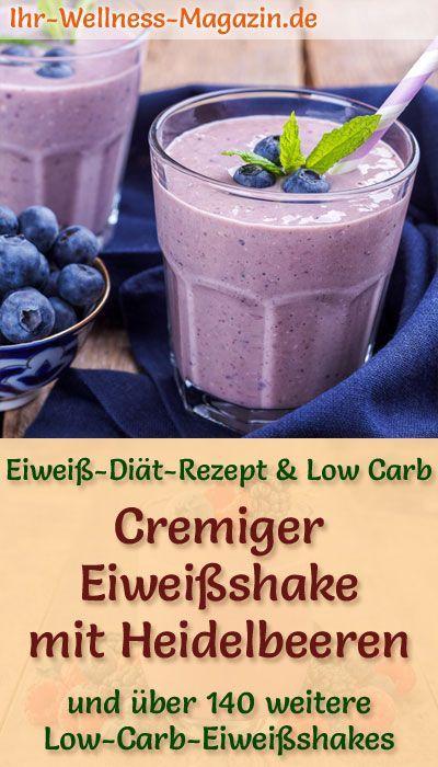 Eiweißshake mit Heidelbeeren - Low-Carb-Eiweiß-Diät-Rezept #proteinshakes