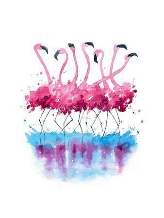 Flamingos Watercolor Painting Art Print by Kamenuka at Art.com