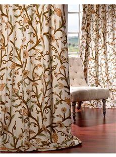 Aurora Embroidered Cotton Crewel Curtain Half Price Drapes Drapes Curtains Curtains