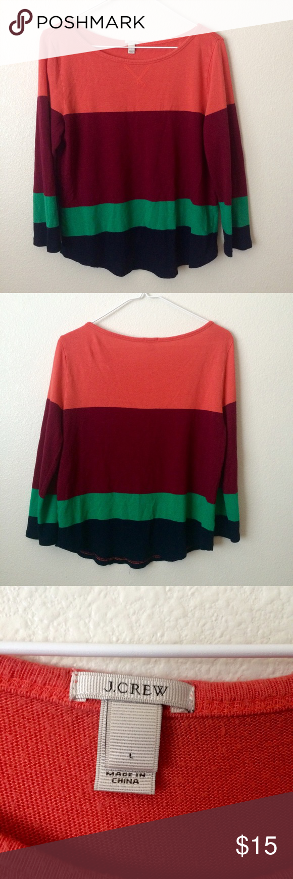 J. Crew Colorblock Shirt Beautiful top from J. Crew. Great condition. Feel free to make an offer!! :-) J. Crew Tops