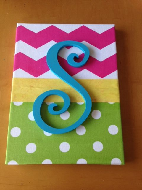 canvas board, material, scrapbook paper & painted wooden letter