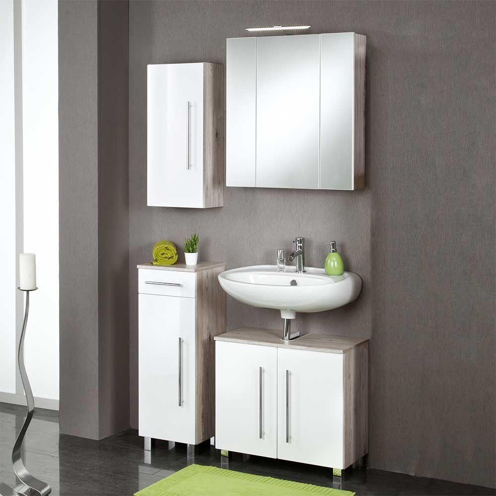 Badezimmermöbel Set in Eiche Grau Hochglanz Weiß (4-teilig) Jetzt ...