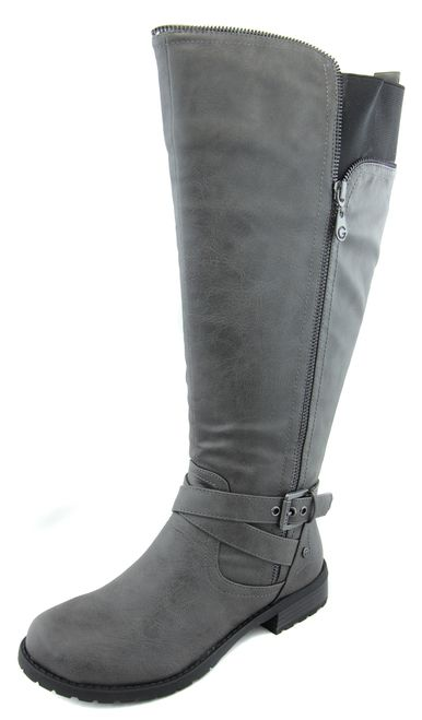 bb0005bb6877 G By Guess Women s Wide Calf Gray Grey Halsey Riding Boots - Save50off.com
