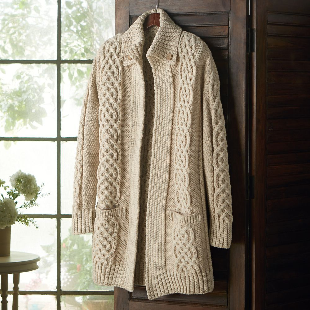 Aran Plaited Merino Wool Long Cardigan | Long cardigan, Plaits and ...