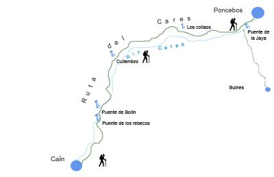 Ruta Del Cares Mapa.La Ruta Del Cares Desde Cain Hasta Poncebos En Los Picos De
