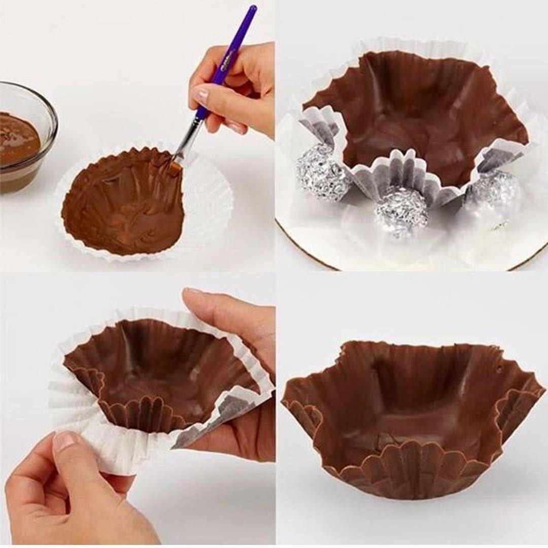 """We Share Ideas Home & Party no Instagram: """"Olha que legal essa ideia para fazer uma casquinha de chocolate para servir com sorvete! Amei !!! regram @cozinhadamaria  #chocolate #casquinha #ideiacriativa #sobremesa #diy #parafazeremcasa #weshareideas"""""""