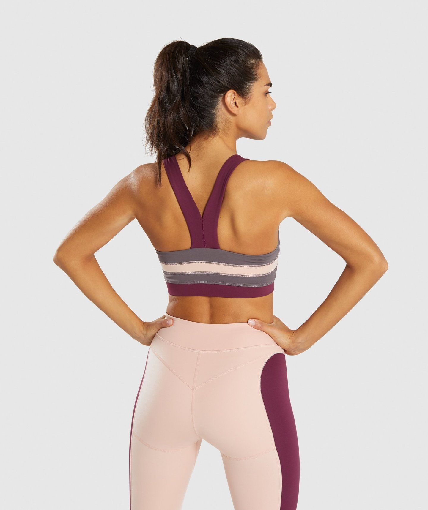 6aa57909de3b0 Gymshark Illusion Sports Bra - Dark Ruby Blush Nude Slate Lavender 1