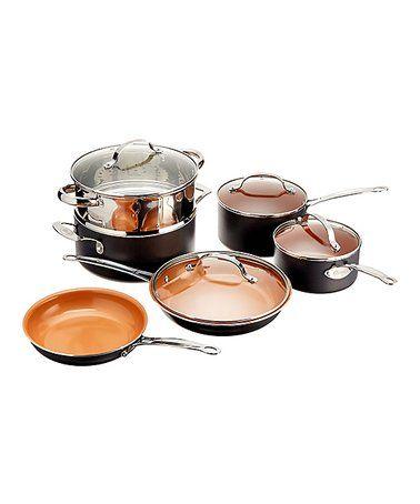 Look At This Zulilyfind Black Nonstick 10 Piece Cookware Set Zulilyfinds Pots And Pans Sets Cookware Set Gotham Steel