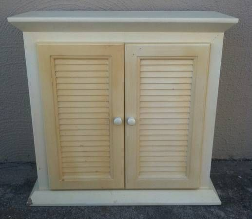 White Cabinet With Louvered Doors 30 W X 12d X 29h Re Doing