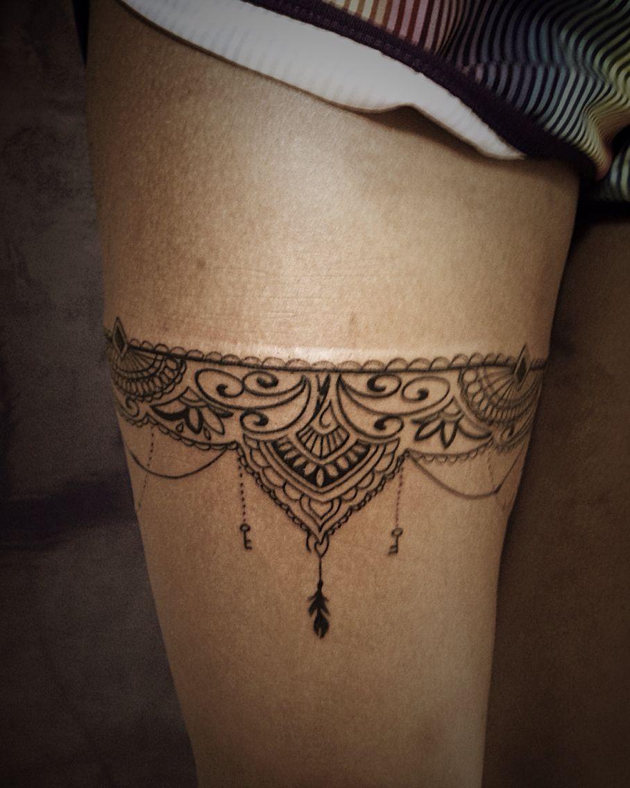 Mandala Garter Tattoo : mandala, garter, tattoo, Katarzyna, Kutereba, First, Tattoo, Thigh, Tattoo,, Garter, Henna, Designs
