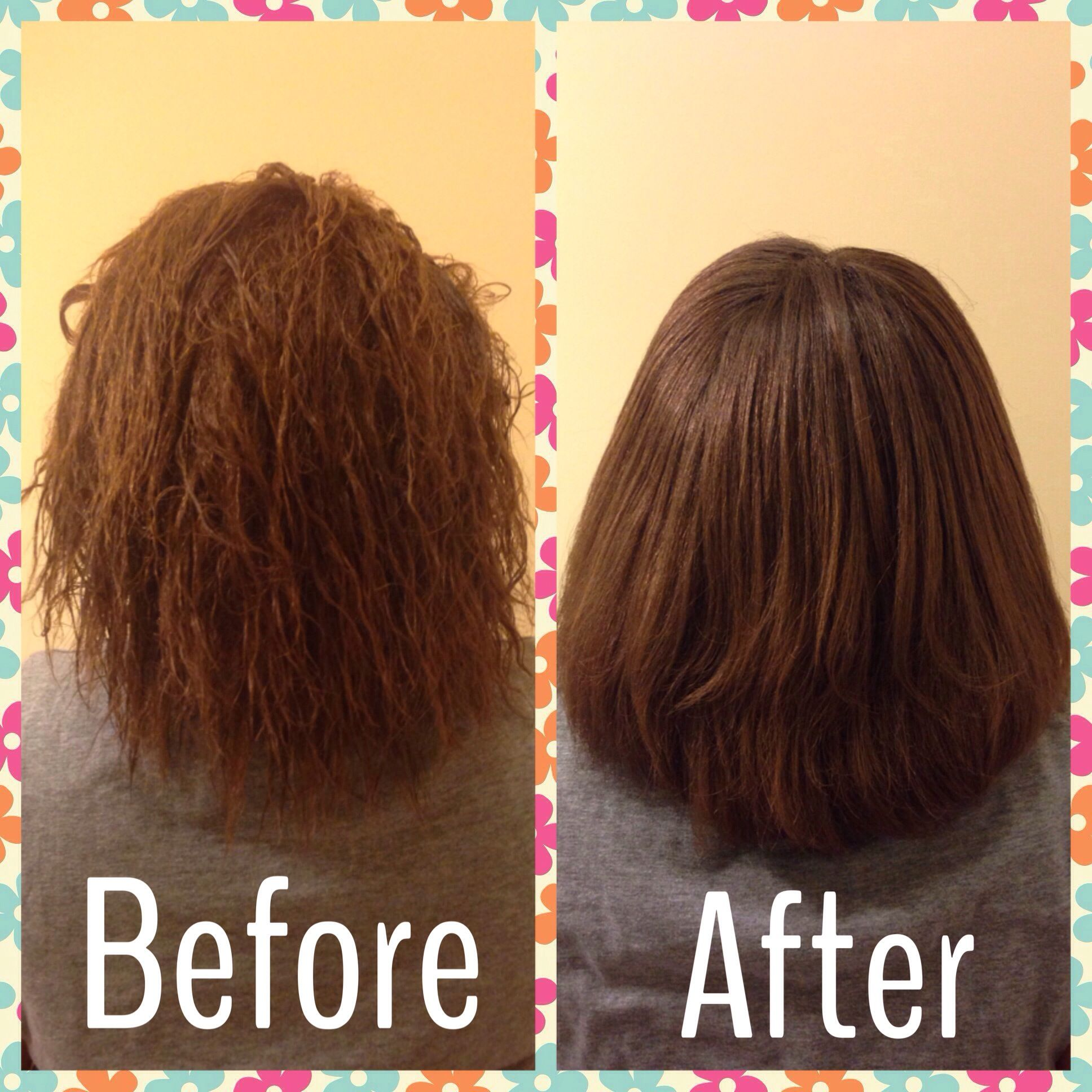 My Results Before After Picture Using John Frieda Frizz Ease 3 Day Straight Flat Iron Spray Flat Iron Spray Hair Styles Frizz