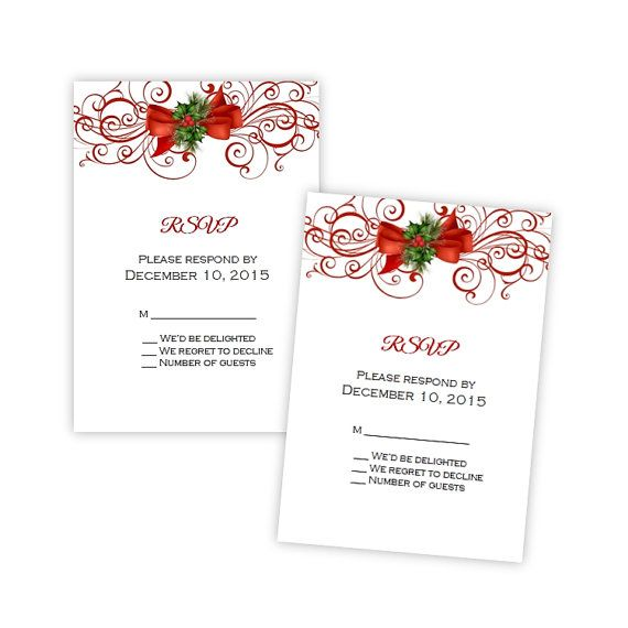 Wedding Or Holiday Party RSVP Card Template Elegant By