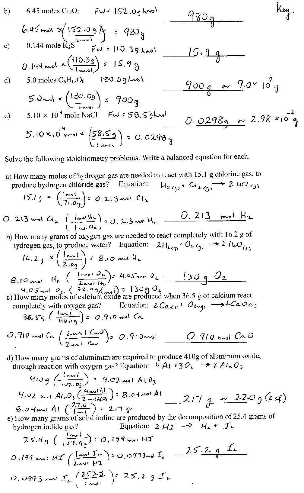 Introduction to Stoichiometry Worksheet Point Grey