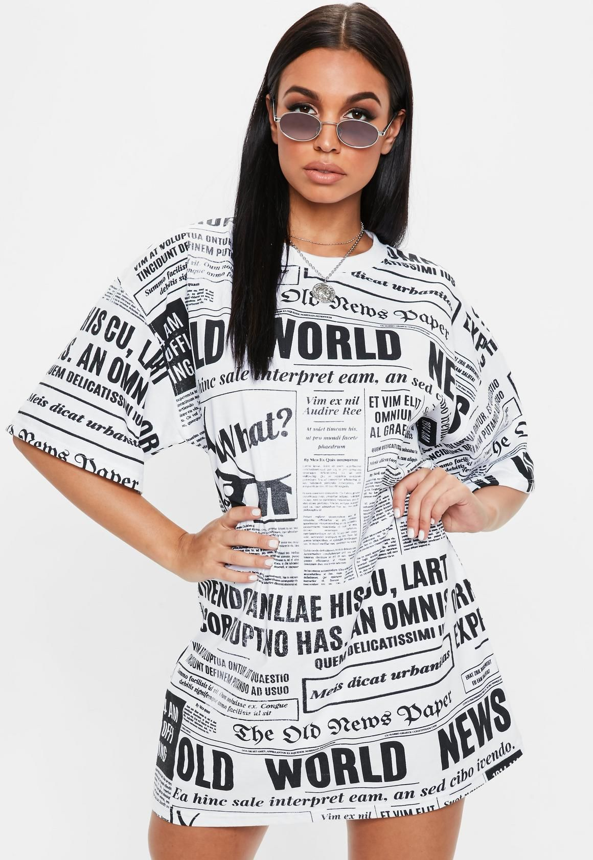 e3226475124 Missguided - White Newspaper Oversized Tshirt Dress | T-Shirt Dress ...