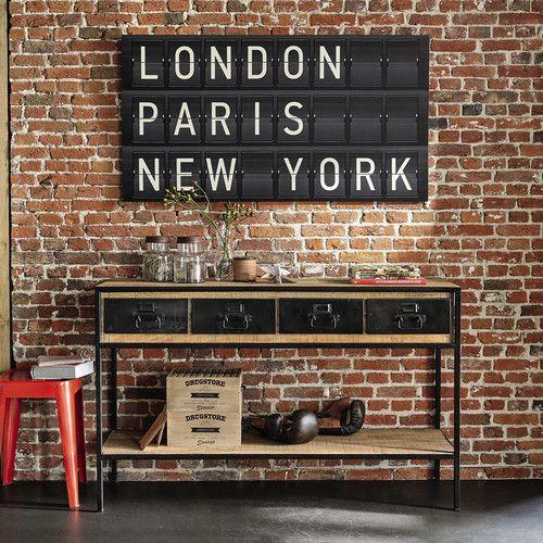 Console indus en métal noir et manguier massif   Londres