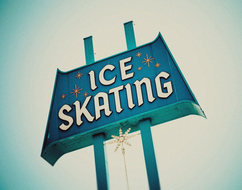 Ice Skating Sign, Culver City Ice Arena, Mid Century Wall