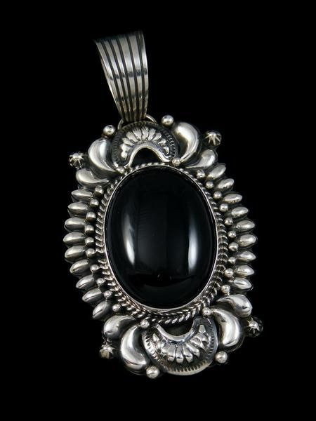 Large native american indian black onyx pendant jewelry native large native american indian black onyx pendant aloadofball Image collections