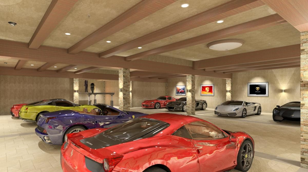 Private luxury garage rendering by bradley adams co for Tuck under garage
