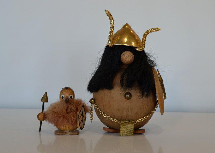 Vintage Teak Viking Figurine Pair Mid Century Modern Hans Bolling Kay Bojesen Folk. $42.00, via Etsy.
