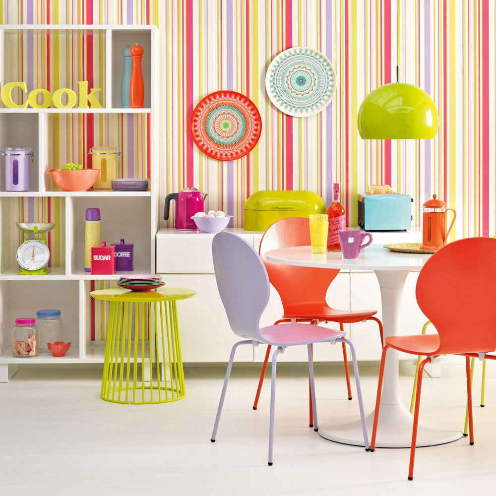 Bright Kitchen With Candy Colours And Striped Wallpaper