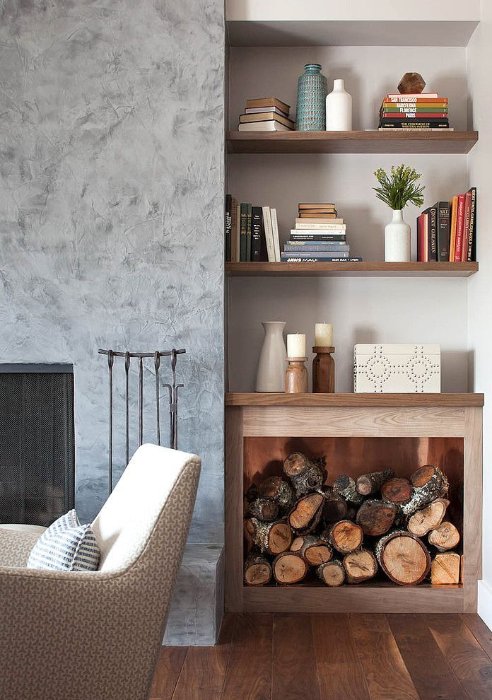 Inside Firewood Storage …  Pinteres… Pleasing Shelves In Living Room Design Review