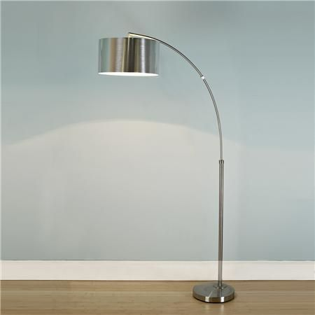 Nickel Arc Floor Lamp with Silver Drum Shade- 199.00 shades of light.  chairs in