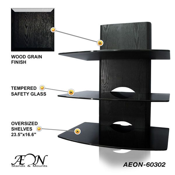 component shelves w three tiers and wood grain finish home decor corner tv wall mount wall. Black Bedroom Furniture Sets. Home Design Ideas