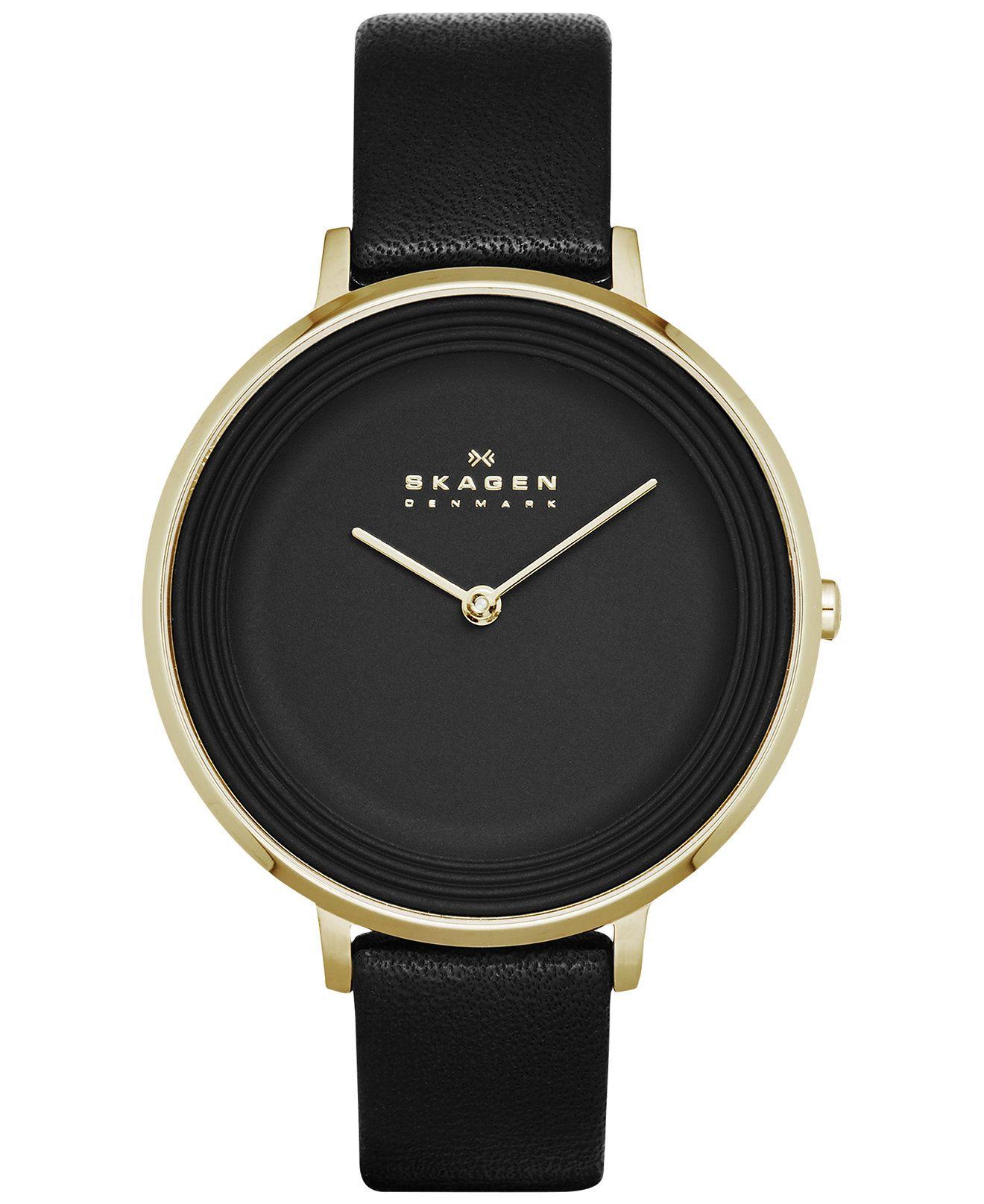Skagen Women's Ditte Black Leather Strap Watch 30mm ...