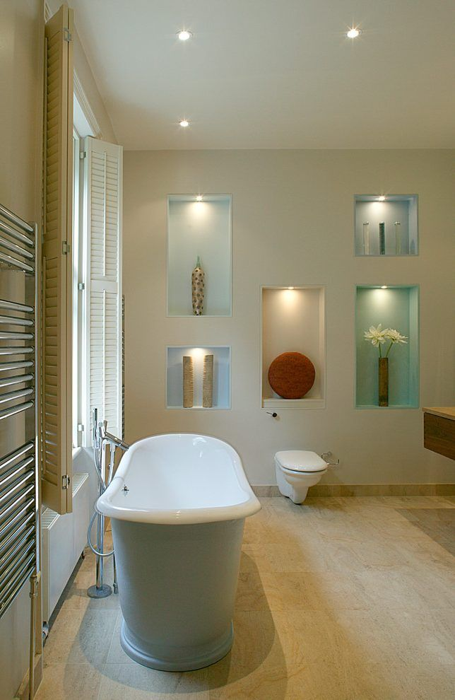 Decorating Wall Niche Ideas Bathroom Contemporary With Free Standing Tap  Free Standing Tub Free Standing Tap