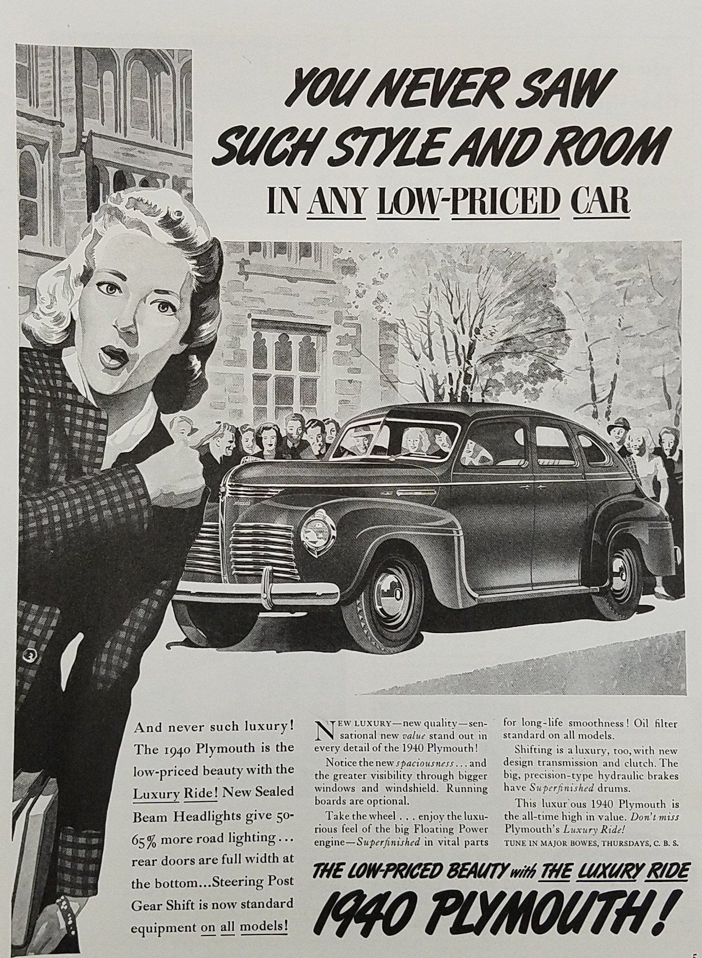 1940 Plymouth Car Vintage Ad - Low Priced Beauty | Plymouth ...