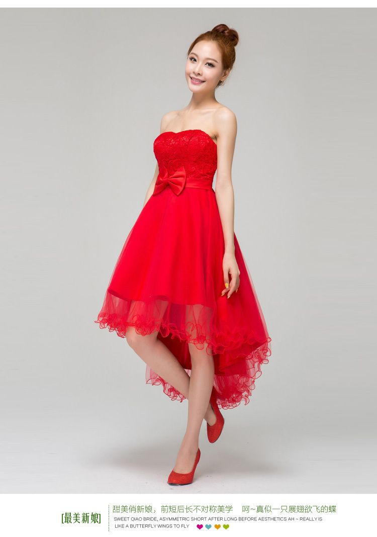 red cocktail prenup wedding dress | theweddingmetier wedding gown