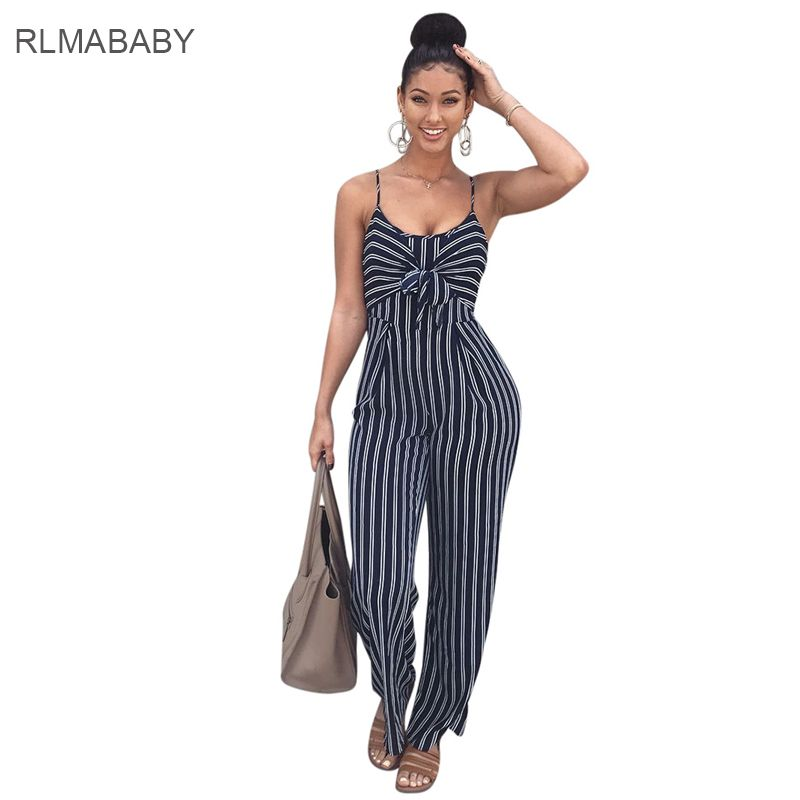 7c463cd8fbb4 RLMABABY Sexy Bandage Bow Hollow Out Striped Long Jumpsuit Fashion  Spaghetti Strap Sleeveless Wide Leg Blue Rompers Playsuit  Affiliate