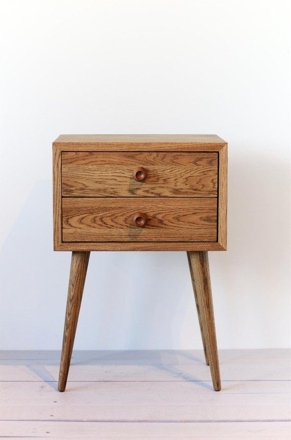 Retro Style Container Bedside Table: Mid Century Modern Bedside Table