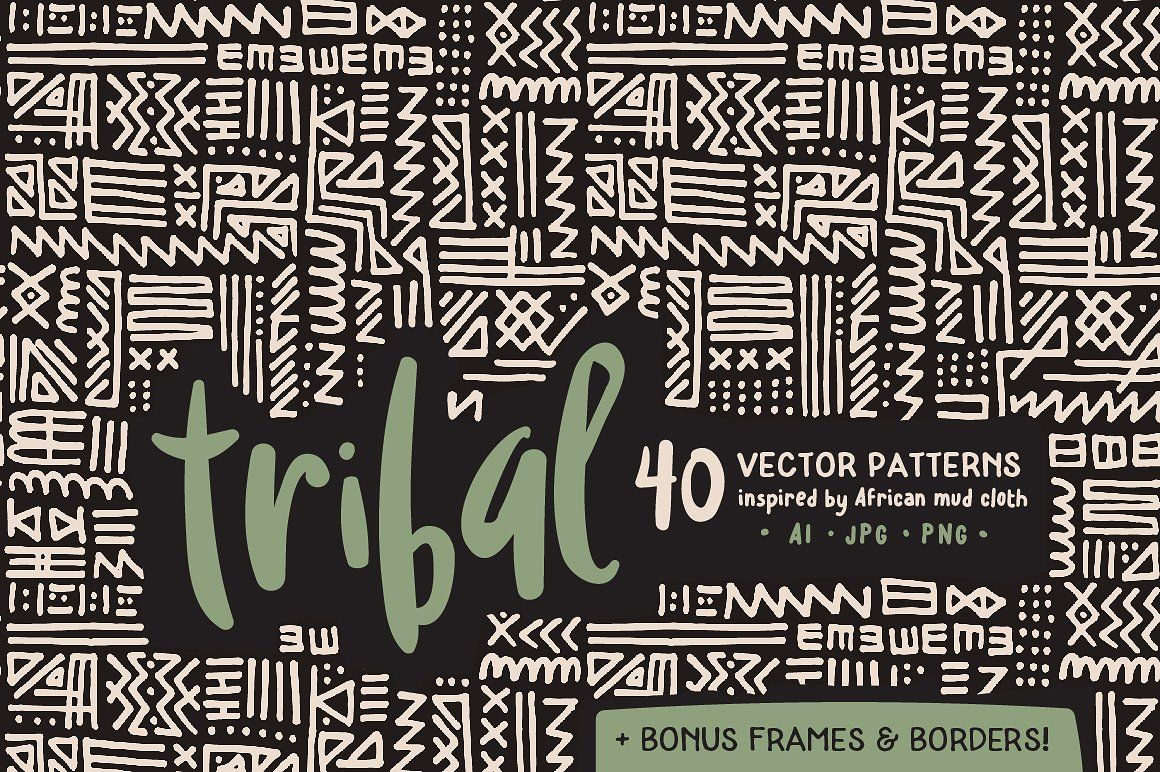Handmade Tribal Pattern Pack pattern background digital paper tribal ...
