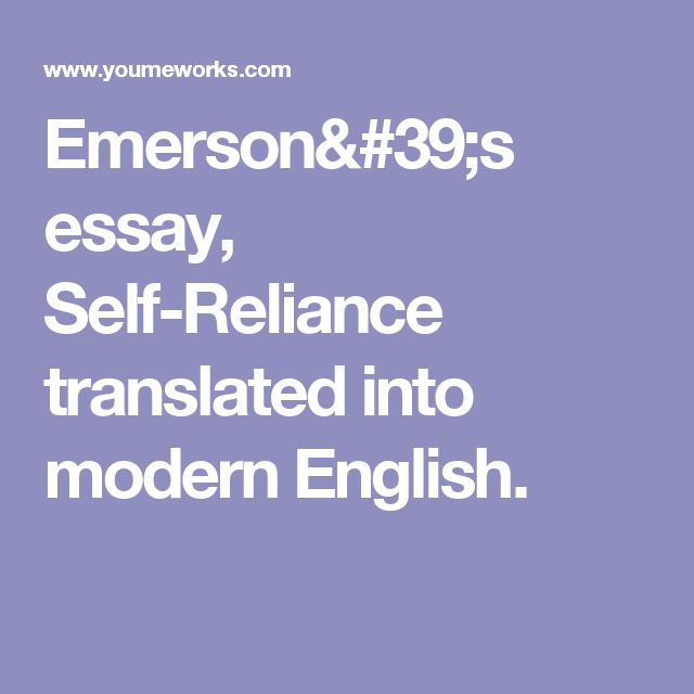 self reliance emerson translation
