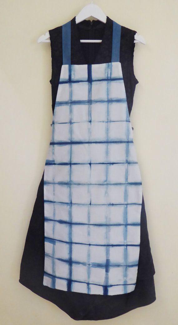 Hand-dyed natural indigo shibori 'itajime' apron by TextileBlue