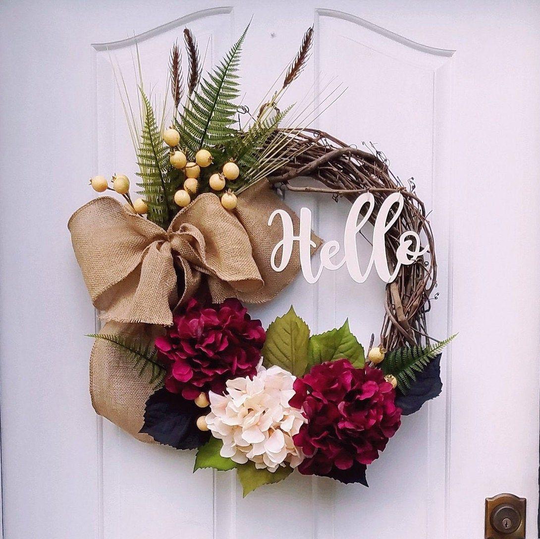 Autumn Door Decor Fall Door Decor FALL Door Wreath FALL Farmhouse wreath Fall Hydrangea Wreath