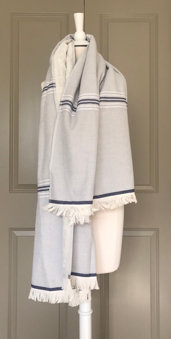 Turkish Towel W Soft Terry Cloth Backing In Gray Color Extra Large