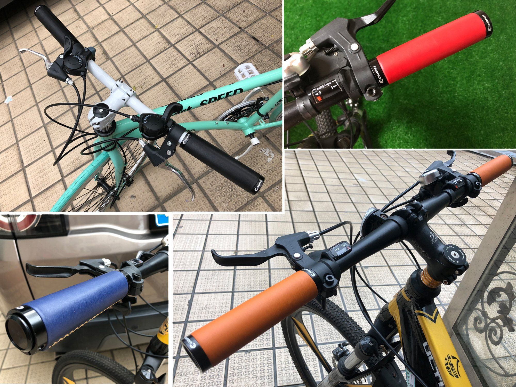 Champkey Ergonomics Comfort Design Genuine Leather Bicycle Handlebar Grips 1Pair