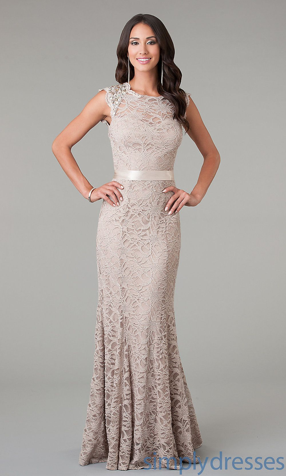 Long Lace Morgan Open Back Formal Gown - Simply Dresses