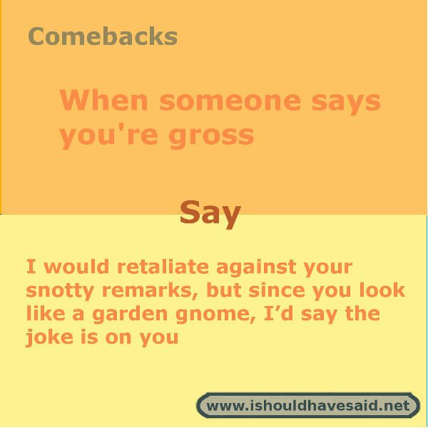 What to say when someone calls you gross | I should have said