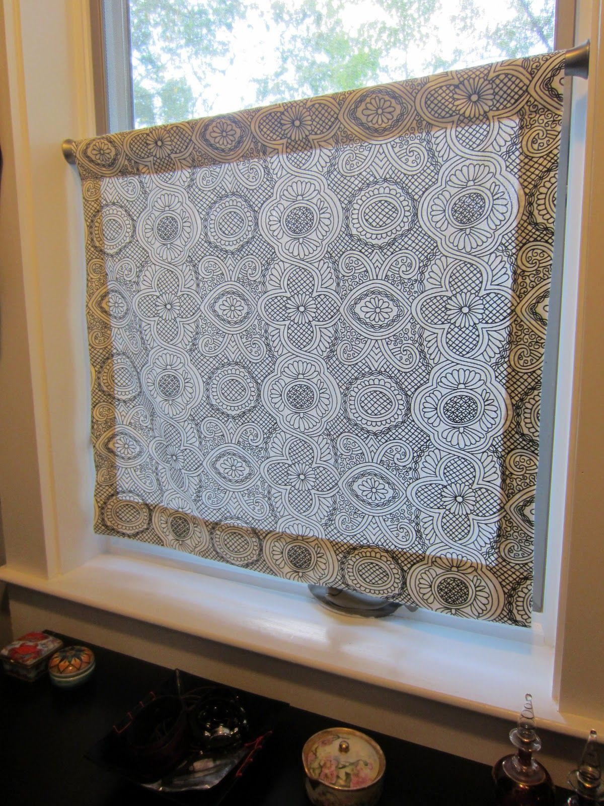 Kitchen And Bathroom Window Curtains Tall Table A Simple Panel To Cover The Bottom Half Of