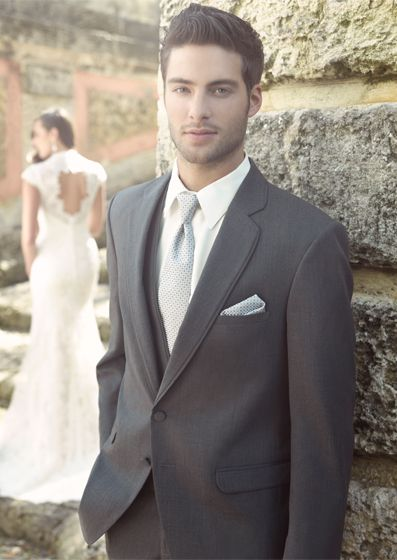 Charcoal Grey Allure By Men Tropical Weight Wool 2 On Shown With Matching Vest And Platinum Tie